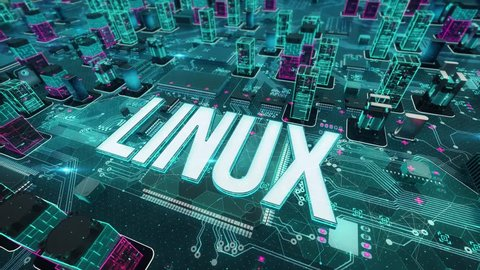 Linux with digital technology concept