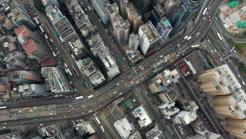 Causeway Bay, Hong Kong 04 March 2019: Top view of Hong Kong city | Shutterstock HD Video #1025525828