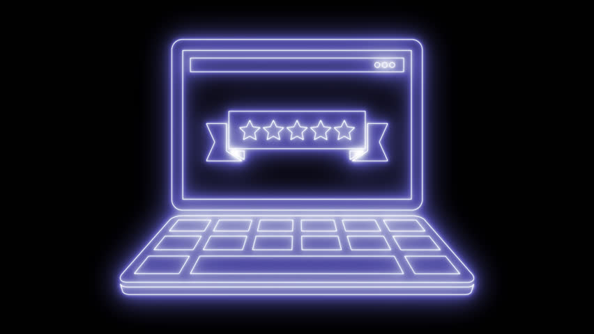 Five stars rating computer. Animated symbol icon 4K. Neon effect, linear and alpha channel. | Shutterstock HD Video #1025558828