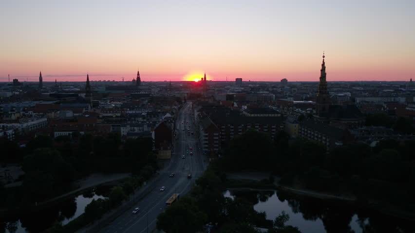 Aerial Denmark Copenhagen June 2018 Sunset 30mm 4K Inspire 2 Prores  Aerial video of downtown Copenhagen in Denmark at sunset. | Shutterstock HD Video #1025576228