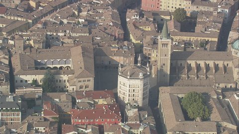 AERIAL Italy-Parma Cathedral And The Gothic Belfry 2007: Parma cathedral and baptistry
