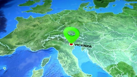 Vicenza, Italy on the Europe map. 3d map render, motion through clouds, satellite view from top. Animated pin marked location of Vicenza city on the geographic map. Travel intro - destination Italy.