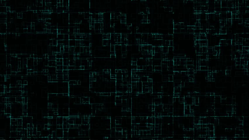 Abstract background of colored square glowing around the contour of particles flickering with light blue glow and intersecting with each other on a dark background. Grid of colored lines virtual chip | Shutterstock HD Video #1025717498