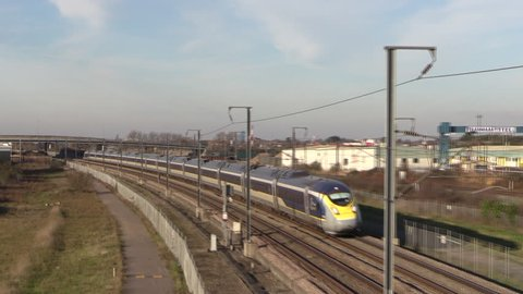 RAINHAM, ESSEX, ENGLAND - DECEMBER 13TH, 2018: A new class 374 e320 Eurostar train on the High Speed One Line in Rainham, Essex.