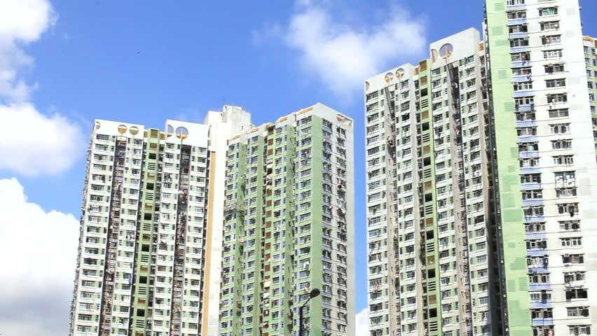 Hong Kong's high-rise buildings, public housing villages, public housing, lower class, social and people's livelihood | Shutterstock HD Video #1025727248