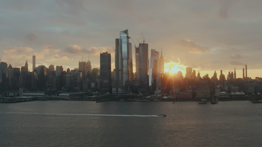 Aerial View Sunrise at New York City and sunflares 4k