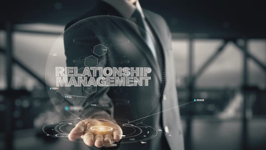 Relationship Management with hologram businessman concept