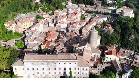 Ancient city Nemi near a Rome. Aerial footage of old city in Europe. Village in the mountains of Italy.