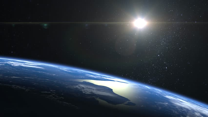 Earth from space. Stars twinkle. Flight over the Earth. The horizon is turned to the right. 4K. The earth slowly rotates. Realistic atmosphere. 3D Volumetric clouds. The sun is in the frame. | Shutterstock HD Video #1025817368