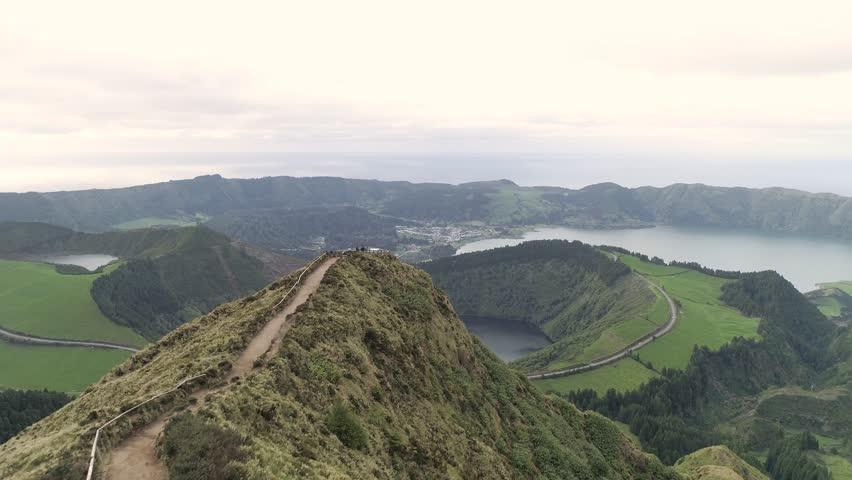 Azores Islet of Vila Franca do Campo Sao Miguel Island Ponta Delgada Portugal Cloudy Summer Aerial 4K | Shutterstock HD Video #1025833088