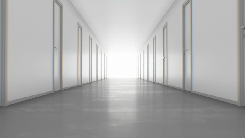 Walking to the Light Through the Endless Corridor with Closed Doors. Looped 3d Animation. Light in the End, Business and Technology Concept. 4k Ultra HD 3840x2160.   Shutterstock HD Video #1025866058