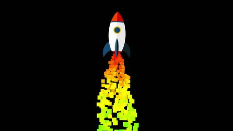 Pixel Art Style Rocket taking off animated background. Success concept