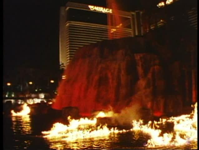 LAS VEGAS, NEVADA, 1994, Night on the strip, Mirage Hotel, volcano explodes