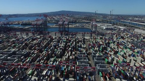 Aerial View of Port of Long Beach California Containers Shipping Terminal Yard 01.MOV