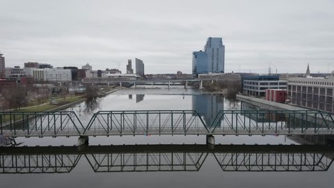 Aerial footage of Grand Rapids