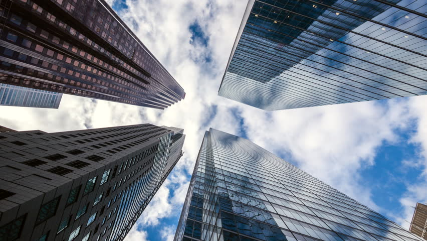 Downtown Toronto time lapse view, looking up at office building architecture in the financial district of Toronto in Ontario, Canada, zoom out. | Shutterstock HD Video #1026020558