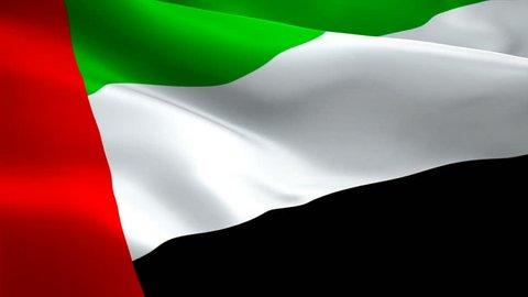 Arab Emirates flag video waving in wind. Realistic UAE Flag background. United Arab Emirates Flag Looping Closeup 1080p Full HD 1920X1080 footage. Dubai United Arab Emirates Middle East country flags
