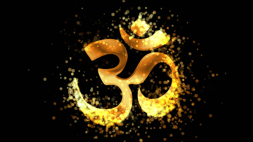 Golden Aum (Om), hinduism religious symbol on transparent background. Appearance from glitter golden particles effect. Stardust cloud. Glitter effect. 4k video with alpha channel. | Shutterstock HD Video #1026140588