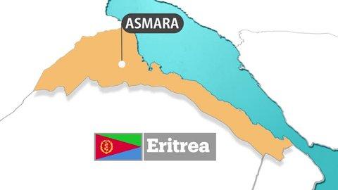 Eritrea map and flag