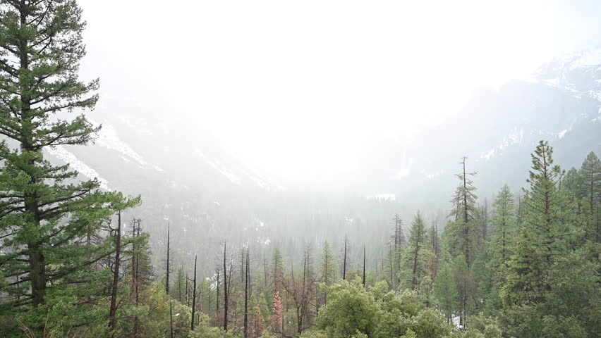 Rain Falls into Yosemite Valley From Tunnel View Overlook