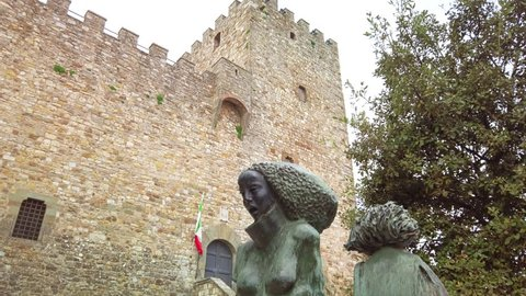 Castellina in Chianti, IT - Mar 2019: Rocca (castle) of this typical comune in the province of Siena, Tuscany. It is known worldwide for the wine produced in and named for the region, Chianti.