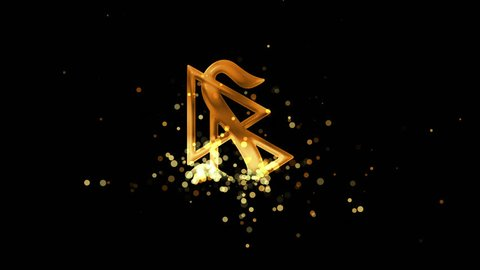 Golden scientology symbol on transparent background. Appearance from glitter golden particles effect. Stardust cloud. Glitter effect. 4k video with alpha channel.