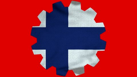 Finland Gear Flag Loop - Realistic 3D Illustration 4K - 60 fps flag of the Finland - waving in the wind. Seamless loop with highly detailed fabric texture. Loop ready in 4k resolution