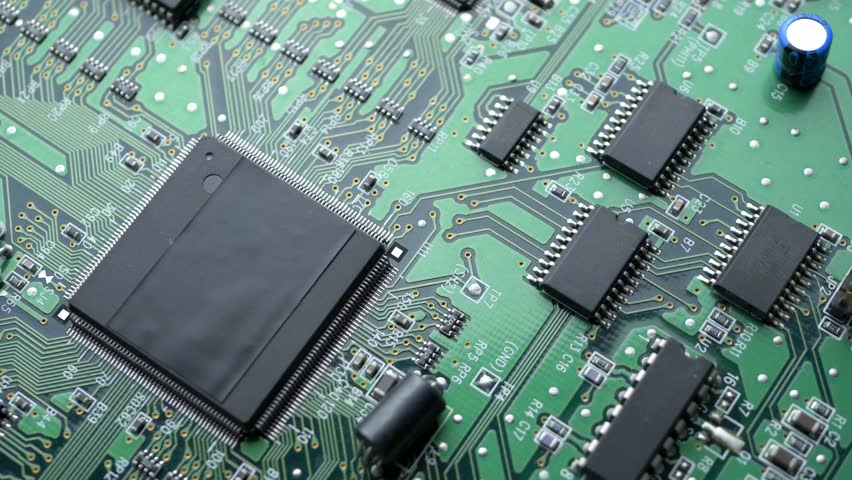 Green circuit board background of PC computer motherboard | Shutterstock HD Video #1026198848