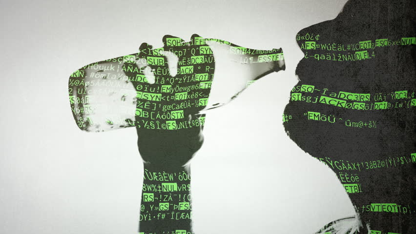 Double exposure: a man drinking beer from a bottle; random characters that look like the source code of a computer program.    Shutterstock HD Video #10262228