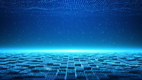 The blue tech particles background is a spectacular motion graphics background. blue squares constantly moving, blue light particles, high tech square particles background, future digital tech video.