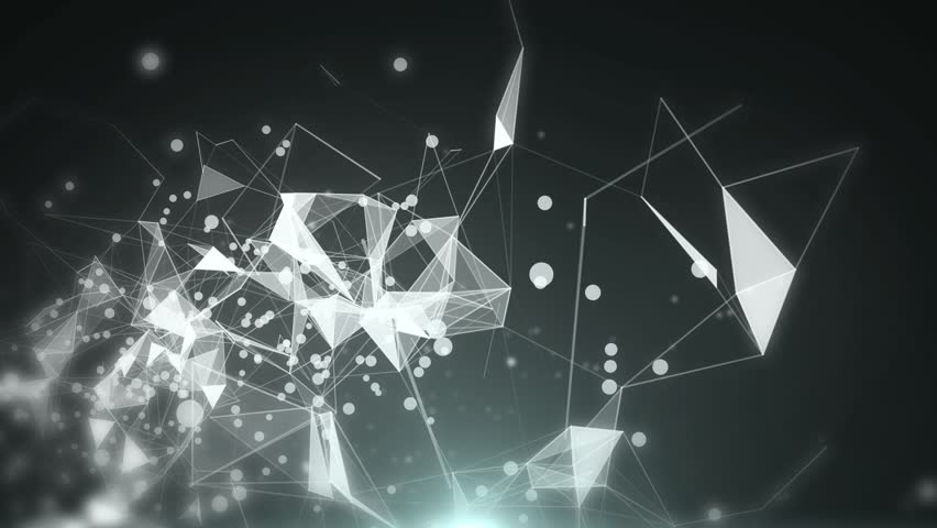 Plexus of abstract gray geometrical lines with moving triangles and dots on a black background with slow motion. looping cg animation. | Shutterstock HD Video #1026351128