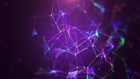 Plexus of abstract violet geometrical lines with moving triangles and dots on a black.background. Slow motion. Loop animations multicolored.