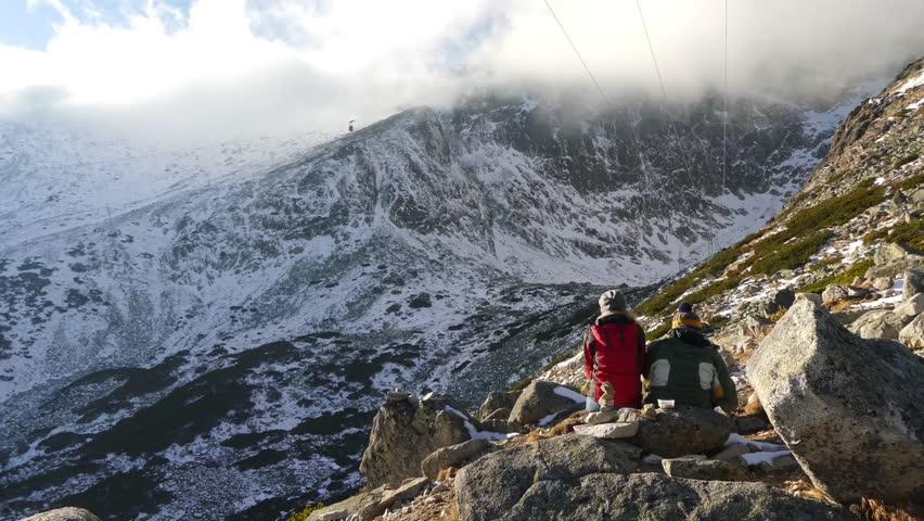 Cable car (ski-lift) in Lomnicky stit, Tatranska Lomnica, High Tatras, Slovakia. | Shutterstock HD Video #1026372128