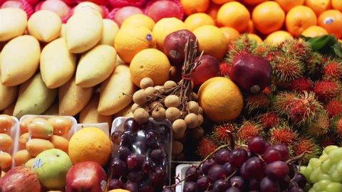 Sweet Thai fruits colorful market in Pattaya.