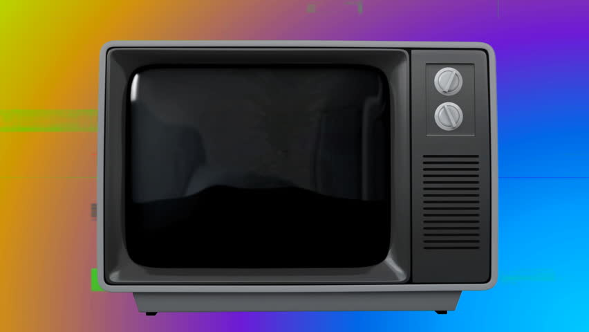 Digitally generated illustration of an old TV with a pineapple on the screen against a colored blurring in the background | Shutterstock HD Video #1026415148