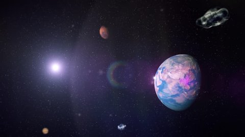 Flight In Outer Space Between Different Planets. 32 second Sequence. Smooth Background Animation.