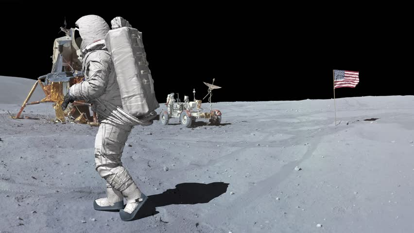 Moonwalk dancing of Astronaut on the moon.