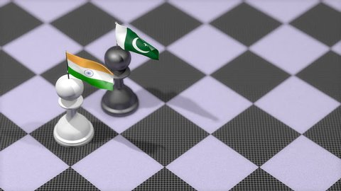 Chess Pawn with country flag, India, Pakistan