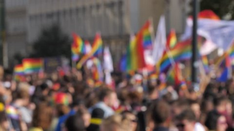 Blur crowd background Rainbow Flags LGBTQ Gay pride parade, celebration