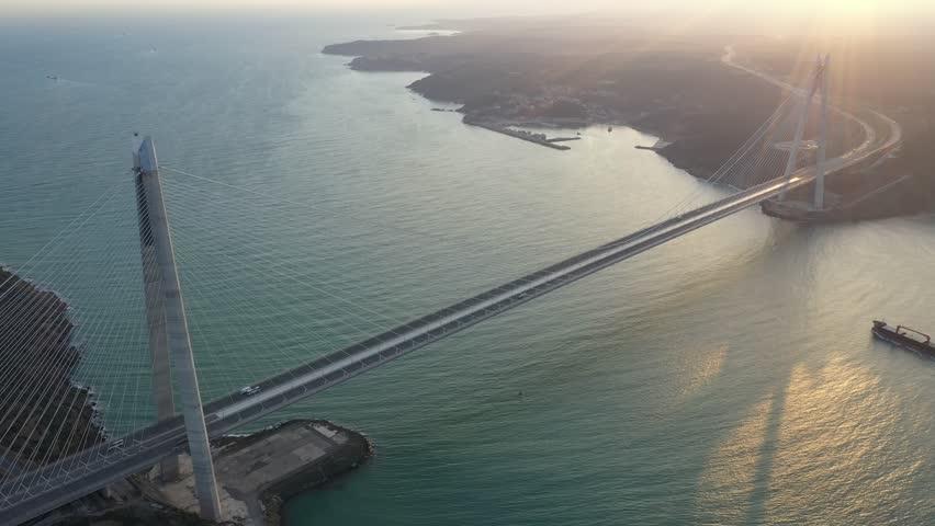 Approach to Istanbul's newest bridge (Yavuz Sultan Selim bridge)   Shutterstock HD Video #1026660308