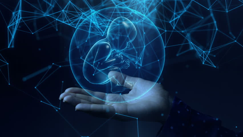 Blue hologram baby inside the sphere rotating in a woman hands. Futuristic genetic concept. | Shutterstock HD Video #1026686408