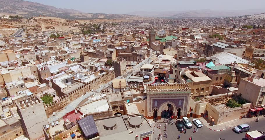 FEZ, MOROCCO. Panoramic aerial 4K view of the Old Medina. Historic area in sunny day. | Shutterstock HD Video #1026727958