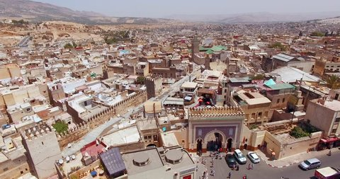 FEZ, MOROCCO. Panoramic aerial 4K view of the Old Medina. Historic area in sunny day.