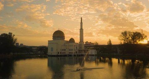 Aerial View of beautiful Mosque during sunrise in Kuala Lumpur, Malaysia