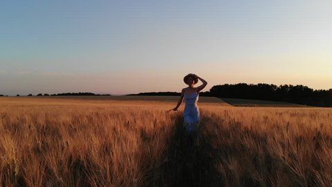 Overjoyed caucasian hipster girl  in dress and hat running in golden ripe wheat field feeling carefree and excited in summer sunny evening. Happy cheerful female tourist enjoying vacations holidays