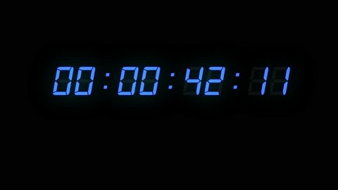 One minute of glowing led 24 fps timecode readout with blue digits on black background.