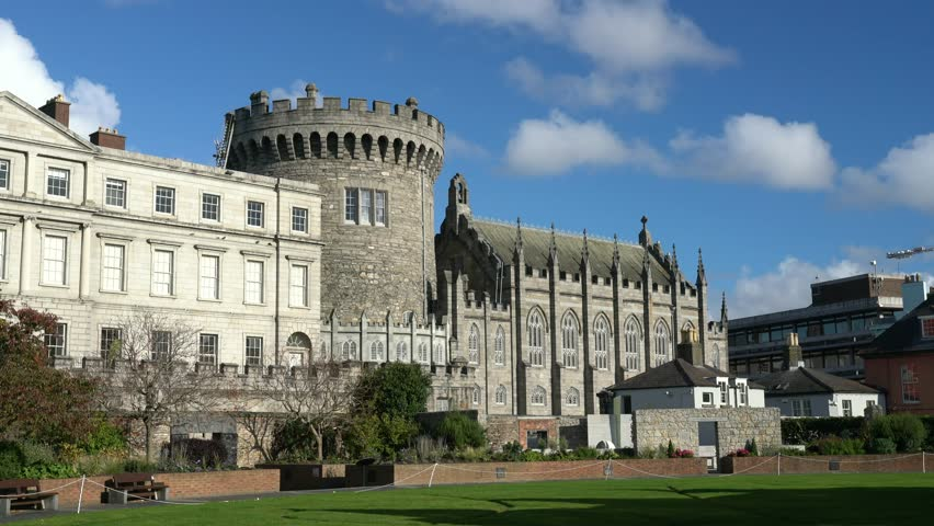Exterior view of the historical Dublin Castle at Dame Street, Dublin, Ireland | Shutterstock HD Video #1026828938