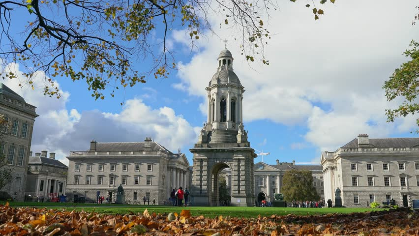 Iconic landmarks - The Campanile of Trinity College with fall color at Dublin, Ireland | Shutterstock HD Video #1026828968