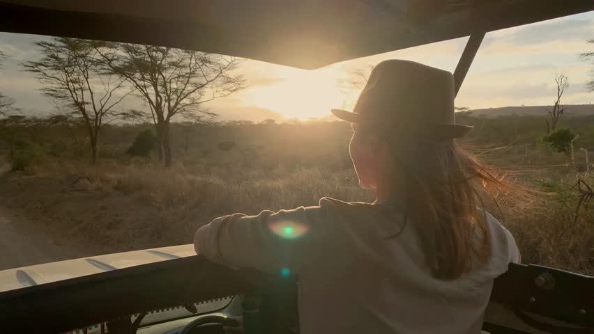 Woman on a safari trip in Masai Mara park, Kenya   Shutterstock HD Video #1026844208
