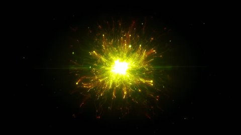 Yellow futuristic space particles in bright round energy structure  space  orb vfx design element  abstract colorful lights background animation  energy ray of power electric magnetic